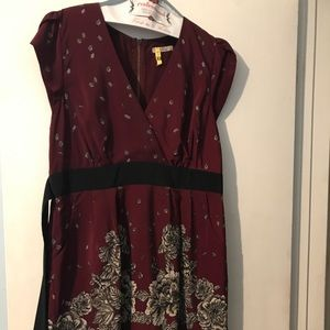 Burgundy & black floral tie back dress